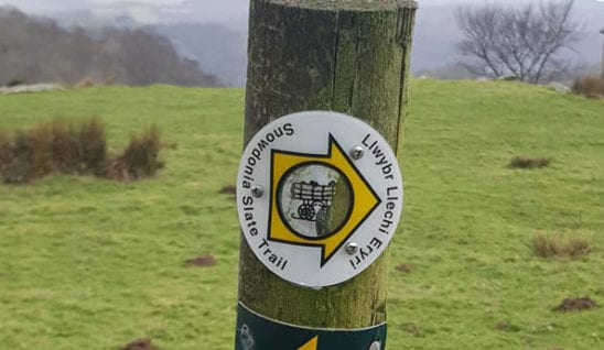 Sign of the Snowdonia Slate Trails where there are lots of Independent Hostels