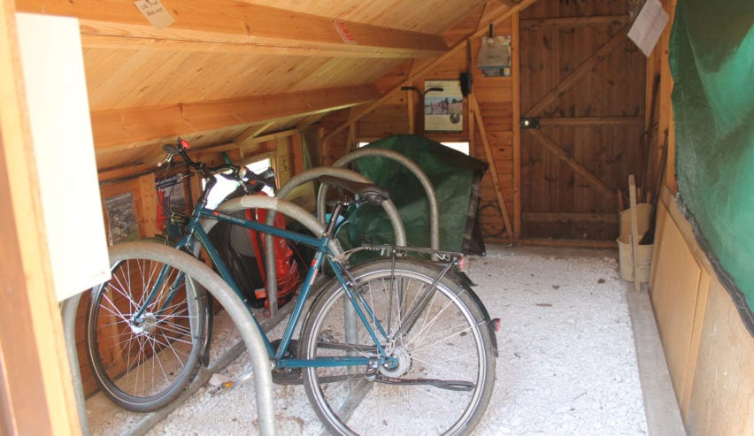 Bike sheds at Puttenham Camping Barn