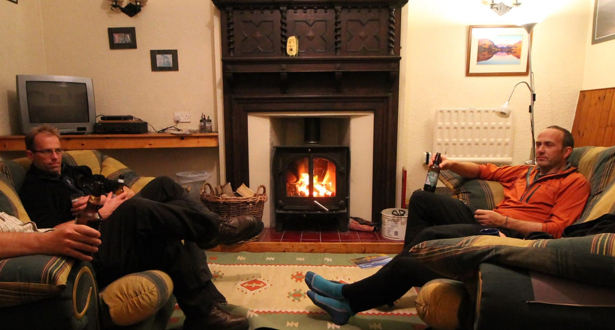 log burner in winter at snowdon lodge