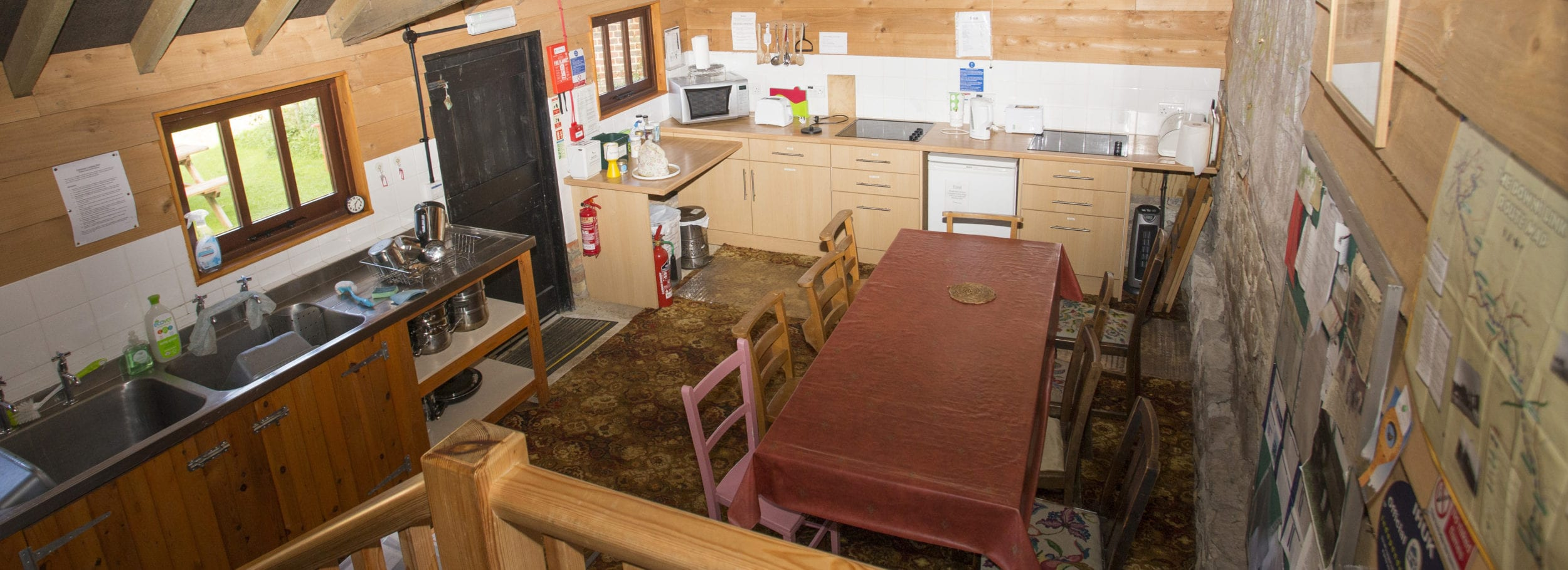 Kitchen and dining area at Puttenham Camping Barn on the North Downs Way. Perfect for D of E groups