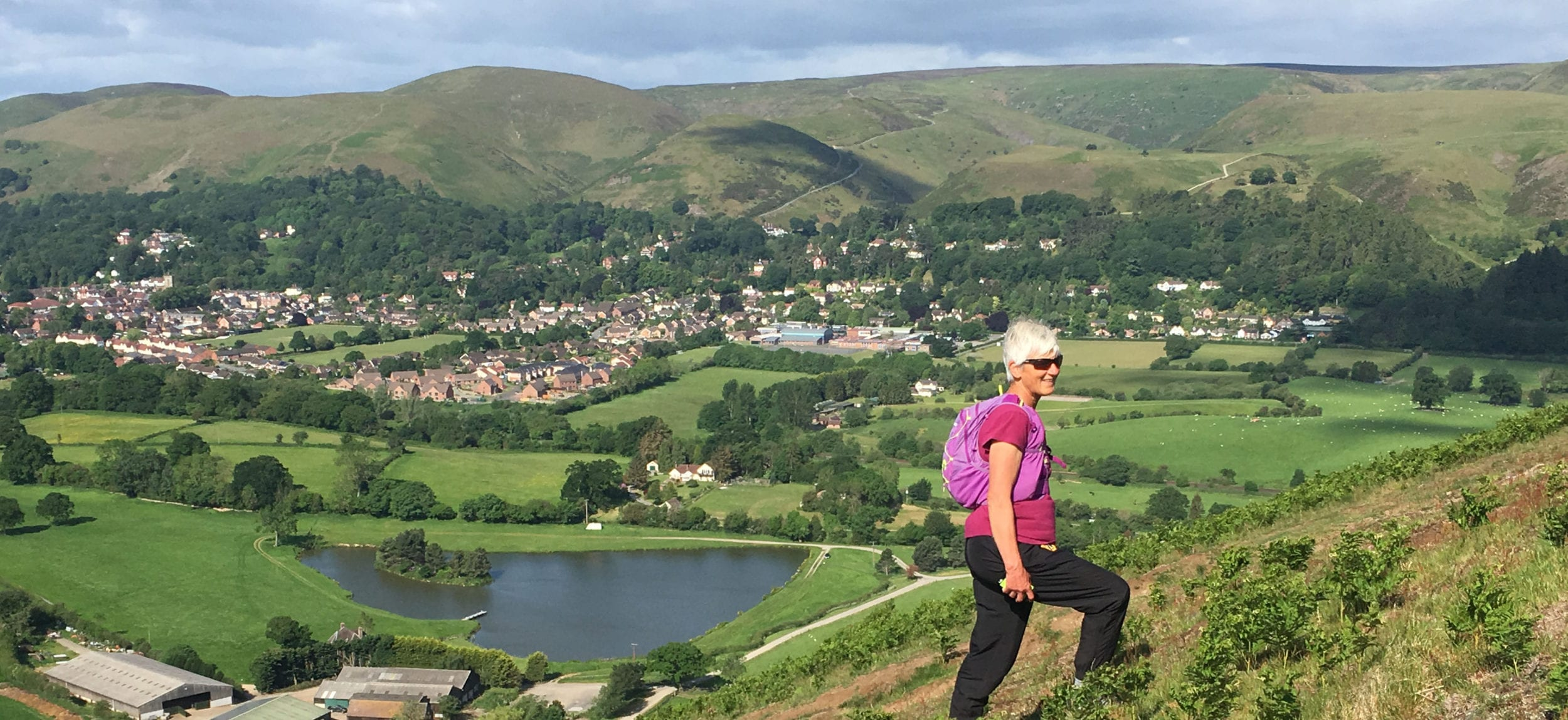 Walking above Church Stretton from All Stretton Bunkhouse