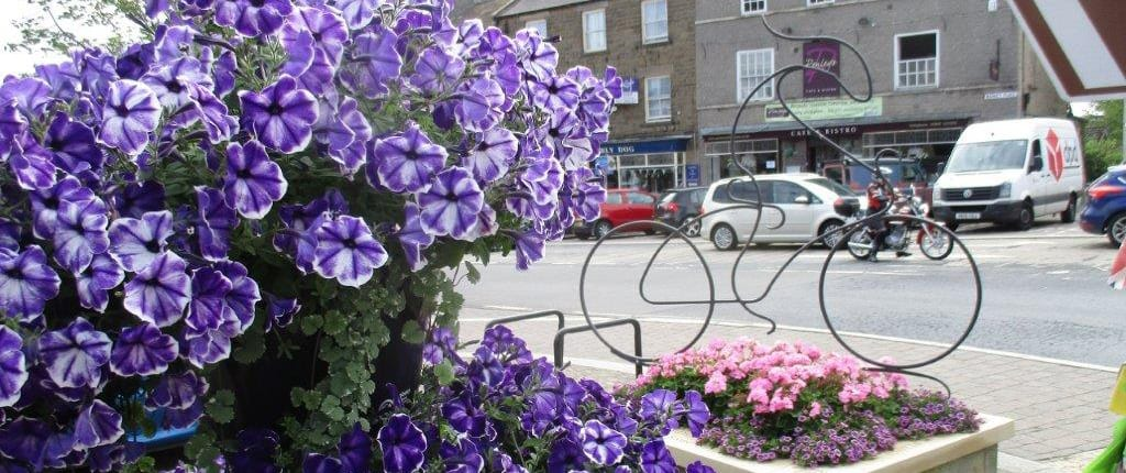 Cycling flower display Barnard Castle
