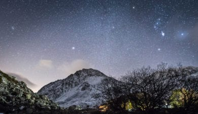 A Dark Sky over Tryfan near Ogwen Valley Bunkhouse