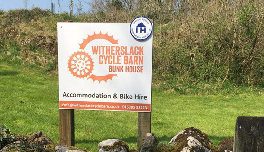 Witherslack Cycle Barn sign