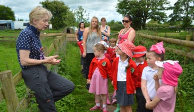 school group at Fordhall organic Farm