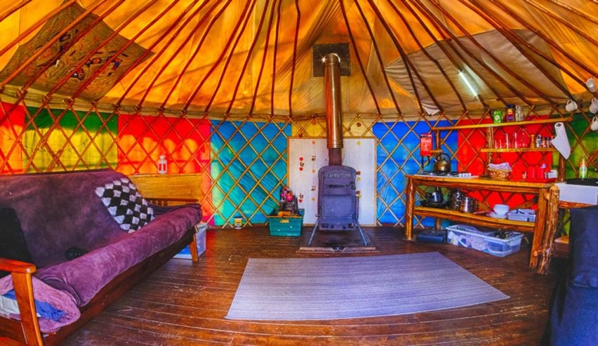 inside yurt at marthrown of mabie
