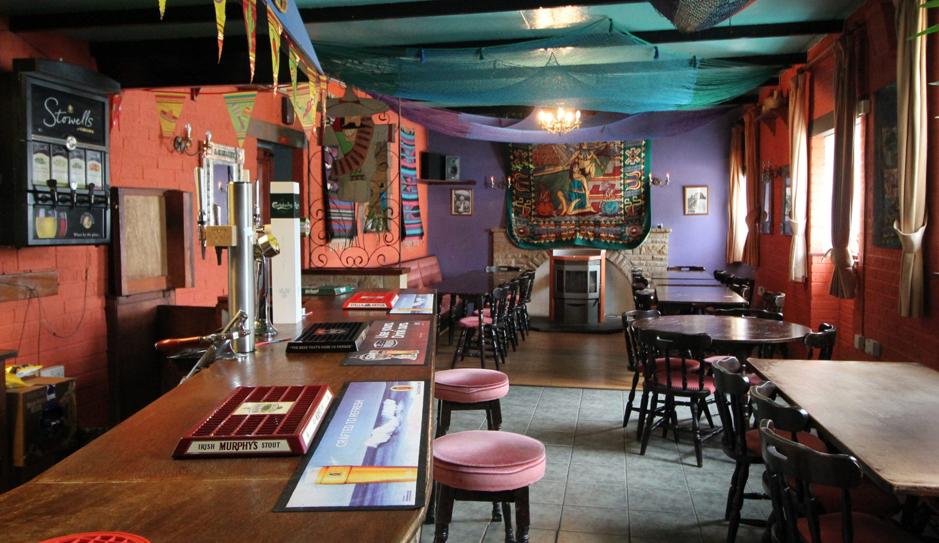 The bar at Pantyrathro international hostel - ideal for new years eve