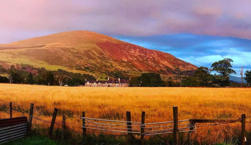 sunset over pentre back bunkhouse