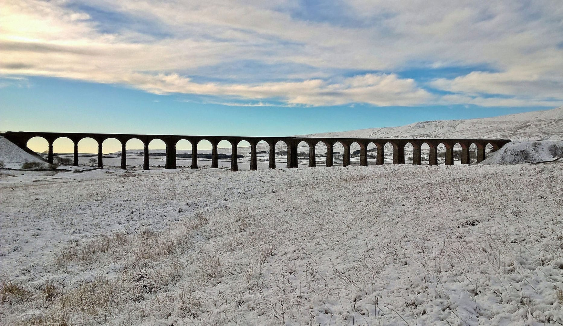Christmas at the ribblehead viaduct near Guaber bunkbarn