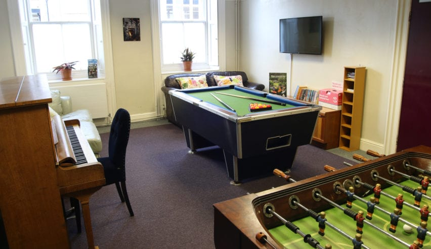 games room at alnwick youth hostel