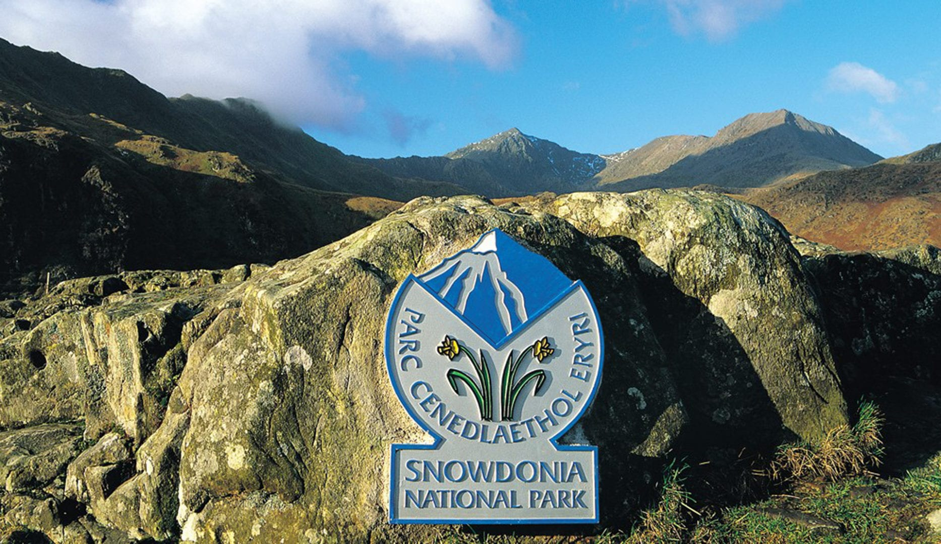 snowdonia national park sign in landscape around Rhy Du and the slate trail