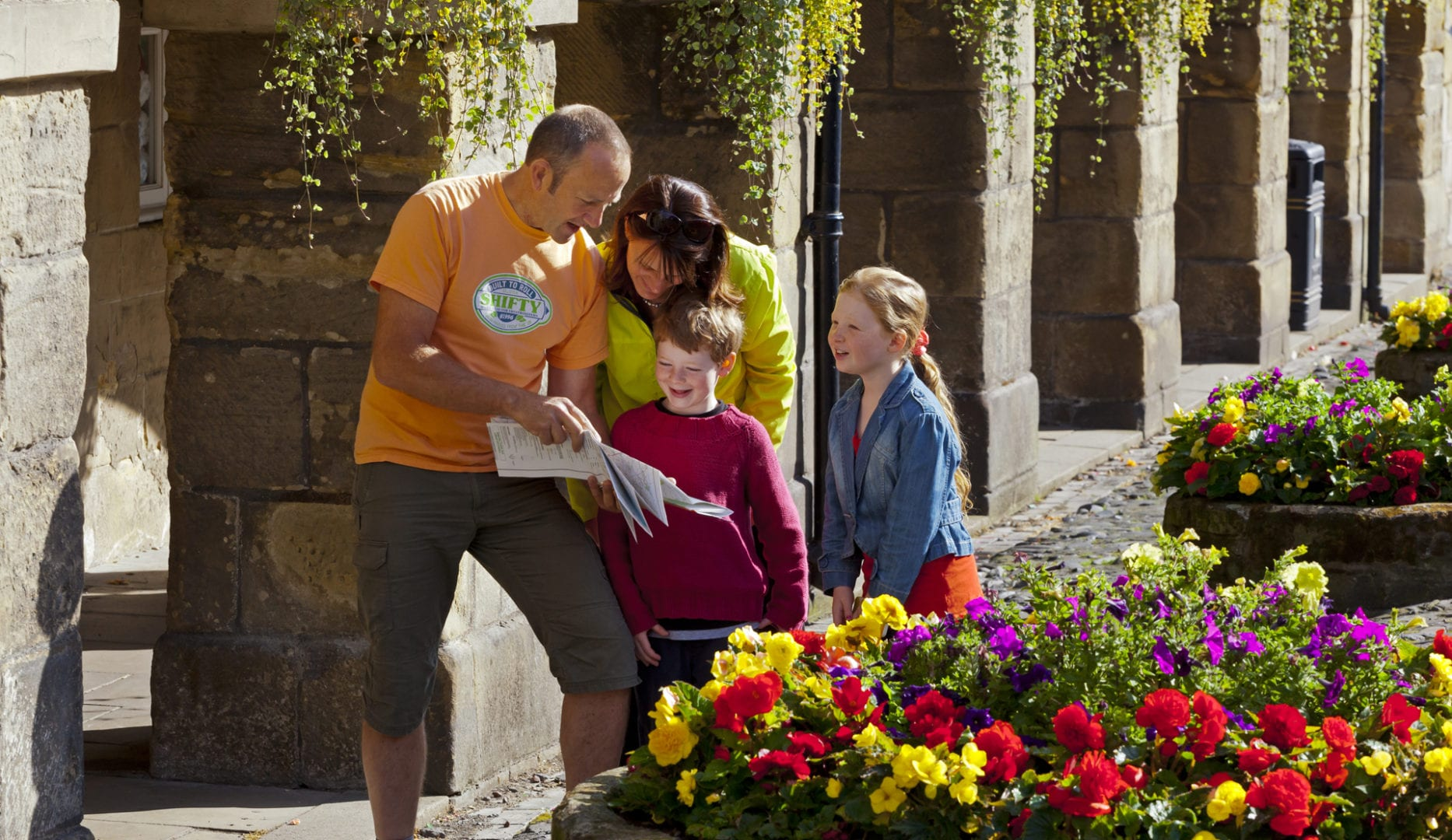 family enjoying august bank holiday in alnwick