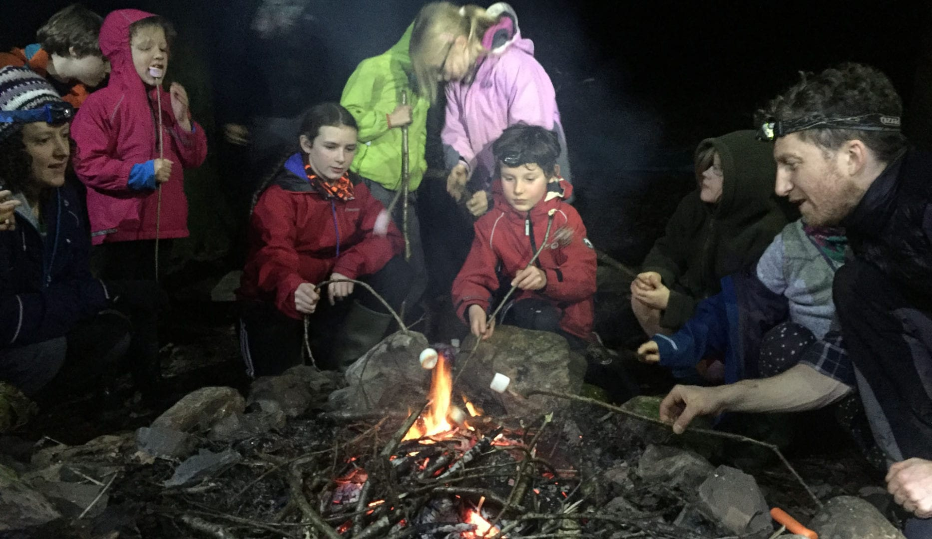 campfire at rookhow campsite in the lake district
