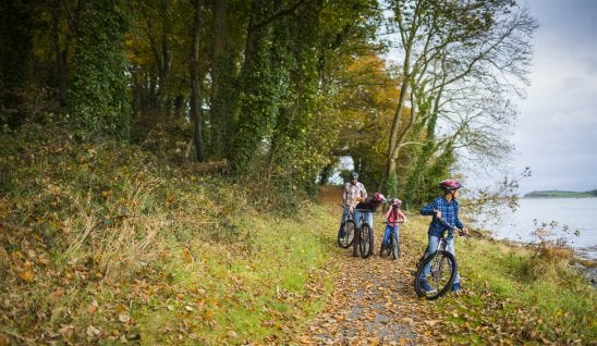 A family cycling along the trail at Castle Ward, County Down