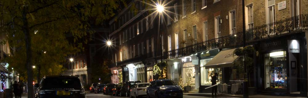 A pretty evening street scene, round the corner from The White Ferry Hostel, Victoria, Central London