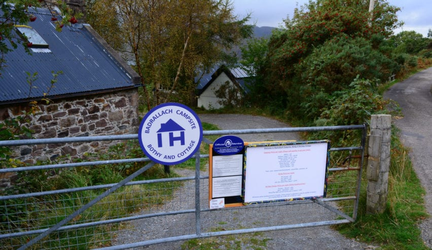 sign on gate at Badrallach Bothy