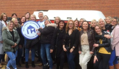 Group with independent hostel sign staying at Backpackers Bunkhouse in city of hull