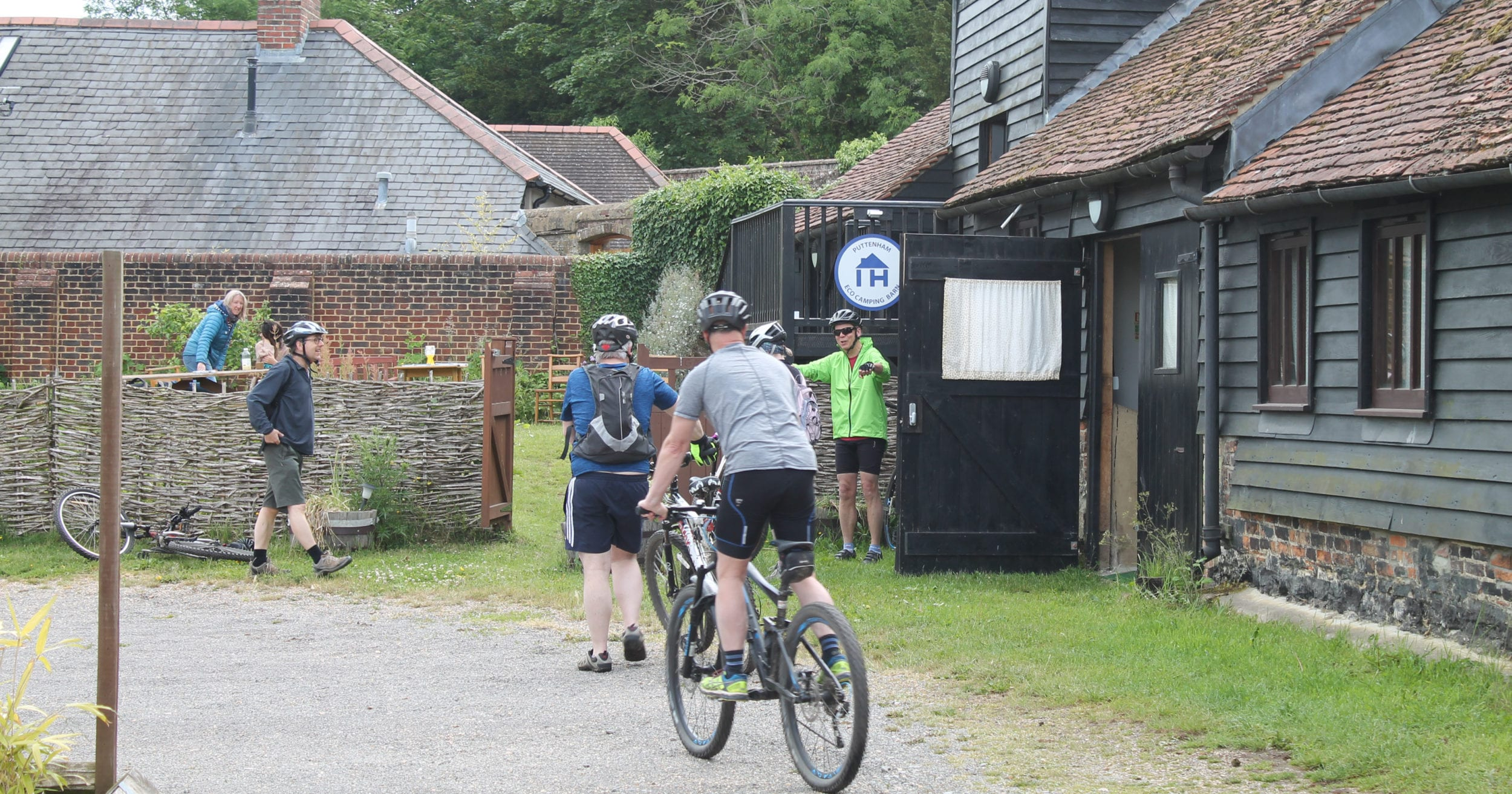 Arriving by bike to qualify for the 'Green Discount' at Puttenham ECO Camping Barn on the North Downs Way
