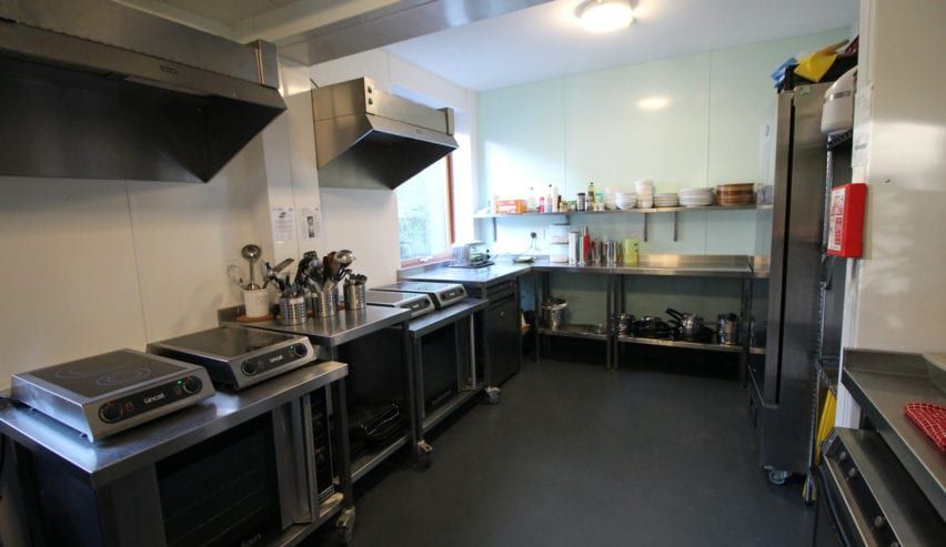 kitchen at wetherdown lodge at the sustainability centre