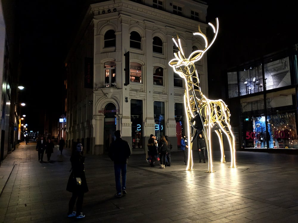 Deer light at New Year in Liverpool
