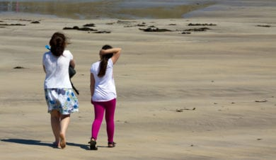 mother and daughter on quiet beach