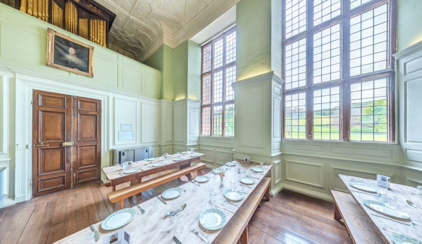 Nettlecombe Court FSC. Dining Room in the Great Hall exterior