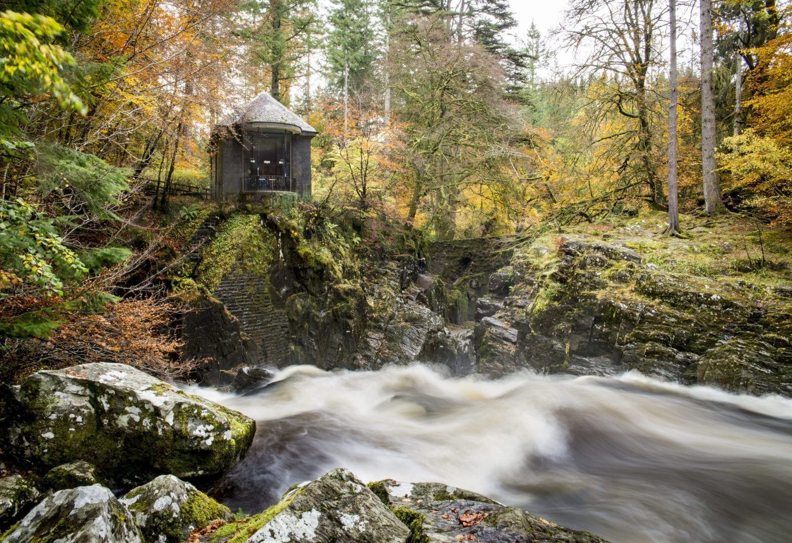 Ossian Hall overlooking The Black Linn Falls at Dunkeld Hermitage