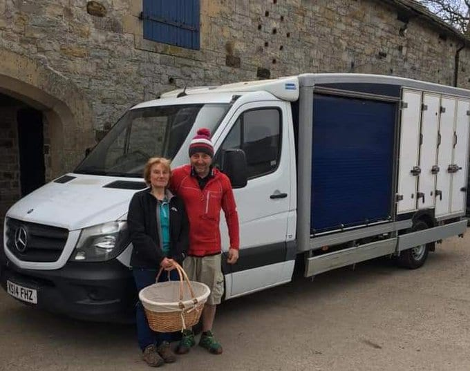 Alston Hostel staff by van delivering supllies to people isolating from coronavirus