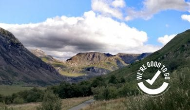 View from Snowdonia mountain hostel with good to go logo