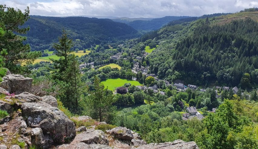 Betws-y-Coed from cliffs above
