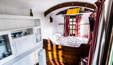 showing the bed inside Heb hostels shepherds hut on the isle of Lewis