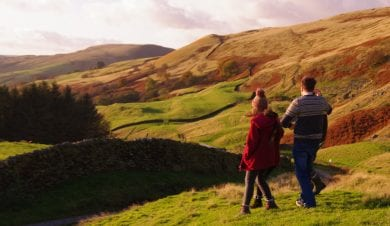 couple enjoying an autumn staycation in moorland