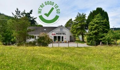 saddle mountain hostel with good to go badge
