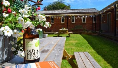 Cider on a bench in the sun