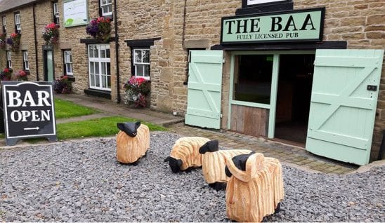 A pub with sheep