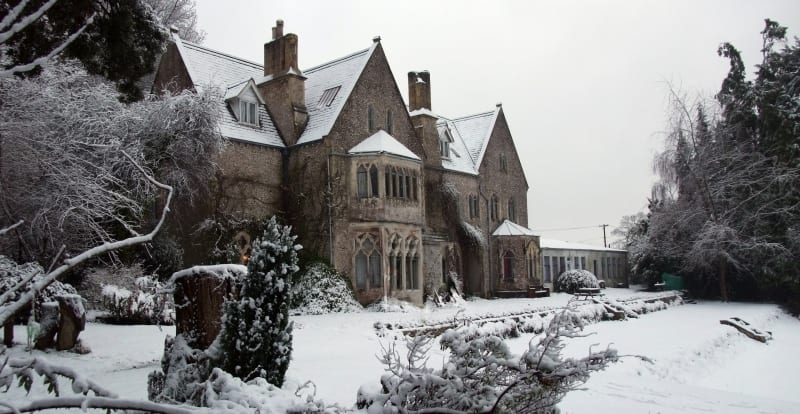 Snowy gothic house