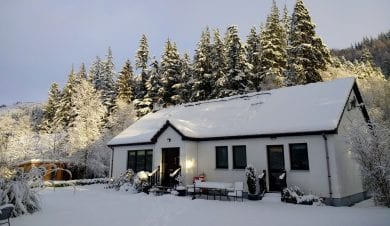 forest way bunkhouse in the snow winter 2020