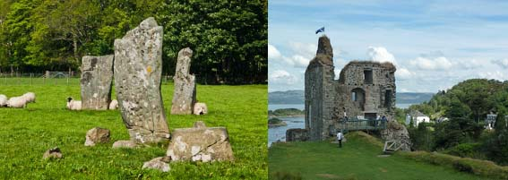 standing stones and castle on the west coast of scotland