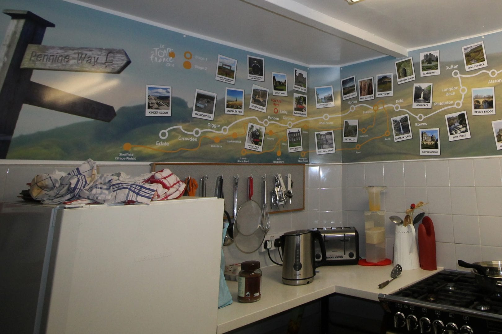 Pennine Bridleway poster in the self catering kitchen of earby hostel