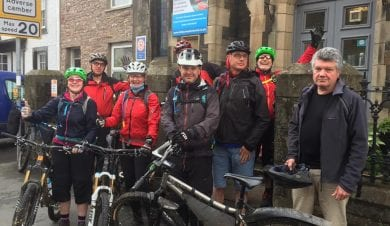 Pennine Bridleway cyclists at Kirkby Stephen
