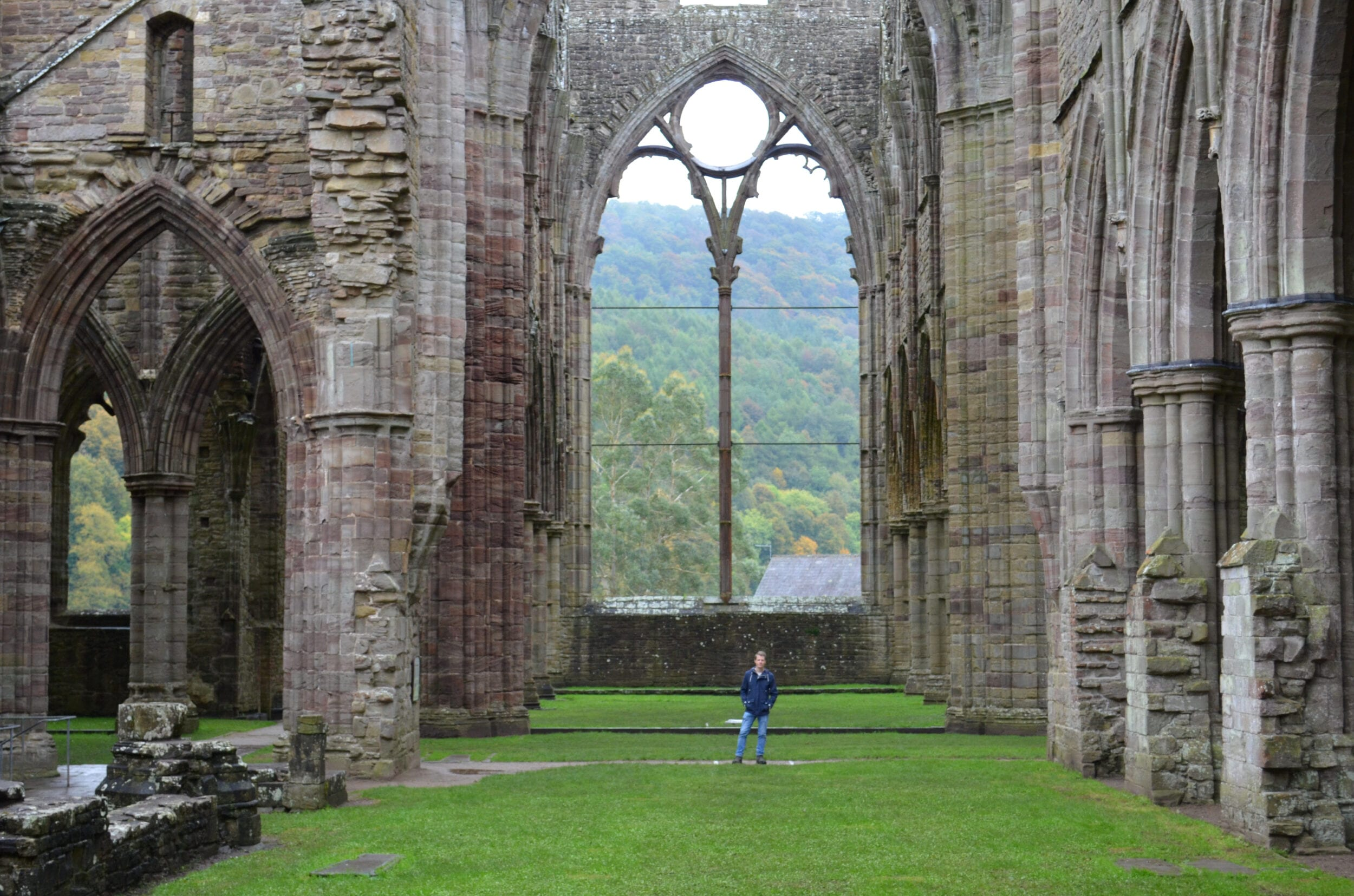 Tintern Abbey with Brian standing in it.