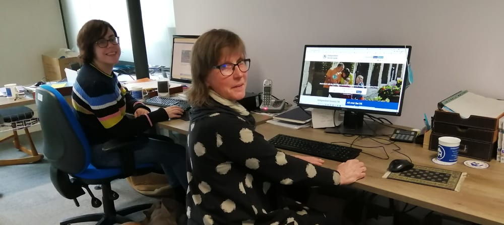 Dee in the office at Independent Hostels UK