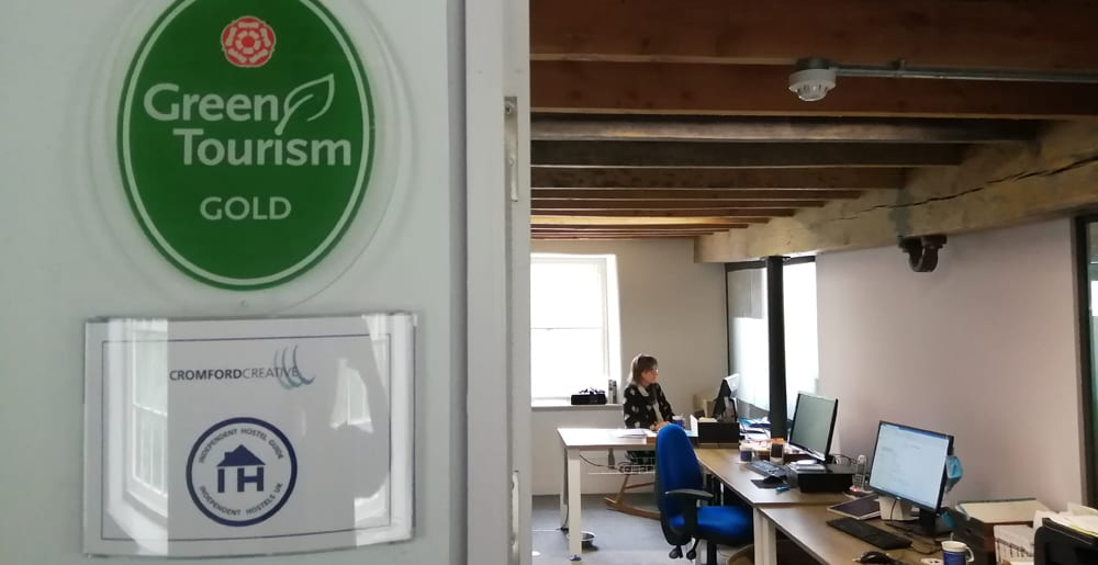 Green Tourism Award at the office of Independent Hostels UK