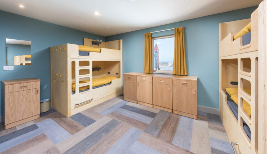 bunks at Radcliffes Lodge Boutique hostel on the Northumberland coast