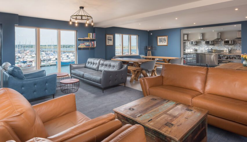 lounge at Radcliffes Lodge Boutique hostel on the Northumberland coast