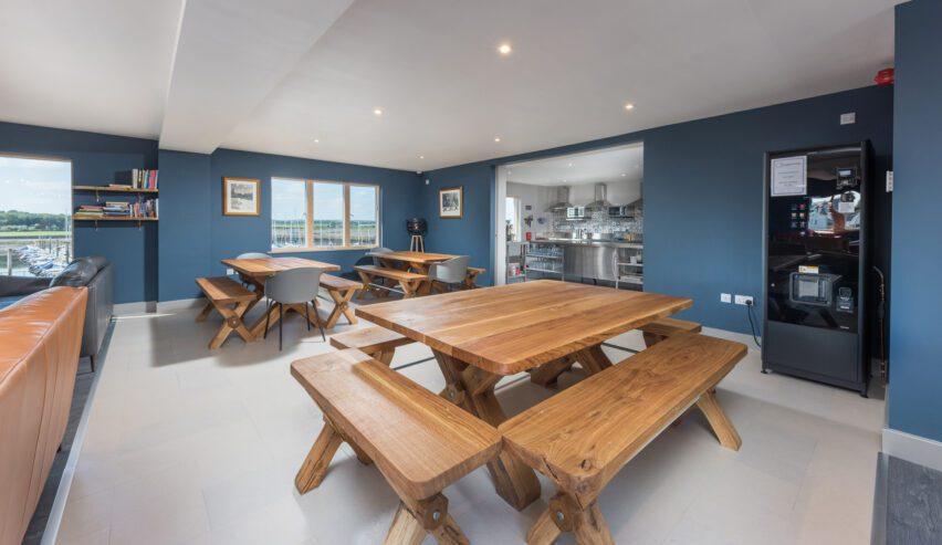dinning at Radcliffes Lodge Boutique hostel on the Northumberland coast