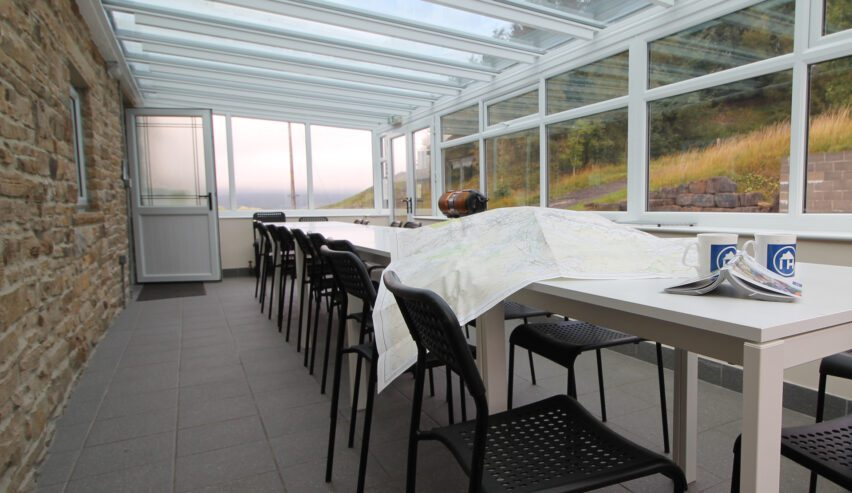 dinning table at haggs bank bunkhouse in the north pennines