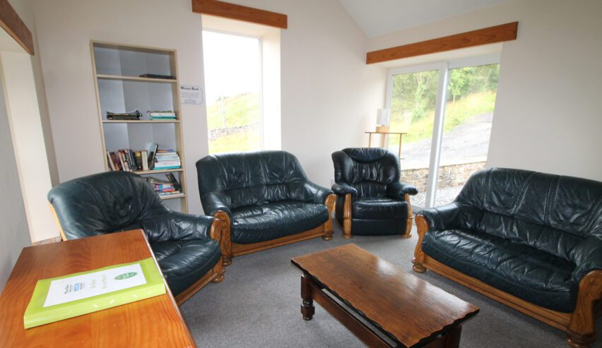 lounge at haggs bank bunkhouse in the north pennines