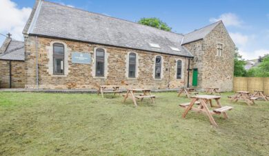 picnic tables outside greenhead hostel on Hadrian's wall